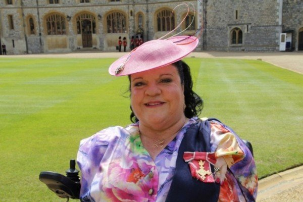 DISABILITY AND EQUALITY CAMPAIGNER ROSALEEN MORIARTY-SIMMONDS RECEIVES OBE FROM HER MAJESTY QUEEN ELIZABETH II AT WINDSOR CASTLE