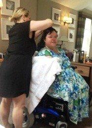 Rachel doing my hair and makeup!